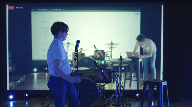 A screen grab from The Academic's music video