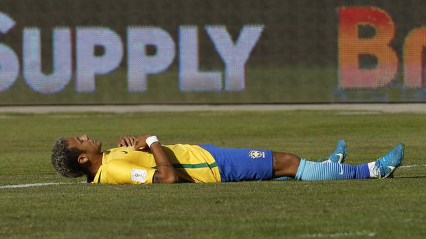 Brazil forward Neymar on the pitch during a World Cup qualifier against Bolivia