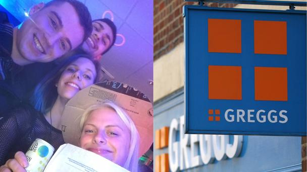 Nikki and some friends and a Greggs the baker sign