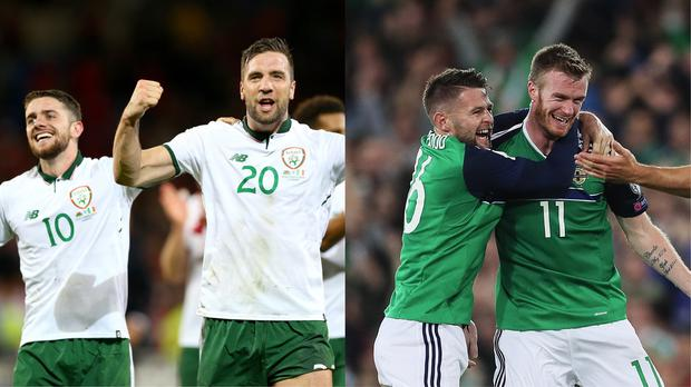 Republic of Ireland and Northern Ireland footballers celebrate