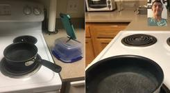 Guy rigged up a iPhone to Facetime a pan so he could watch it boil from his living room ((Justin Hillister/PA)