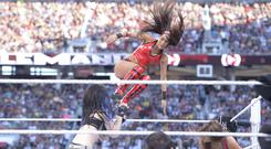 Brie Bella in the ring at WrestleMania 31