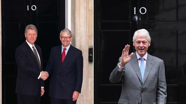 In 1995 US President Bill Clinton meets then British PM John Major, and in 2017 he returns to Downing Street
