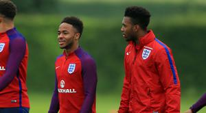 England's Raheem Sterling and Daniel Sturridge during England training