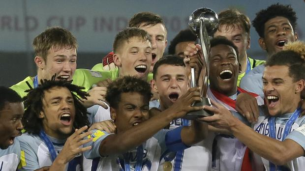 England celebrate winning the Under-17 World Cup