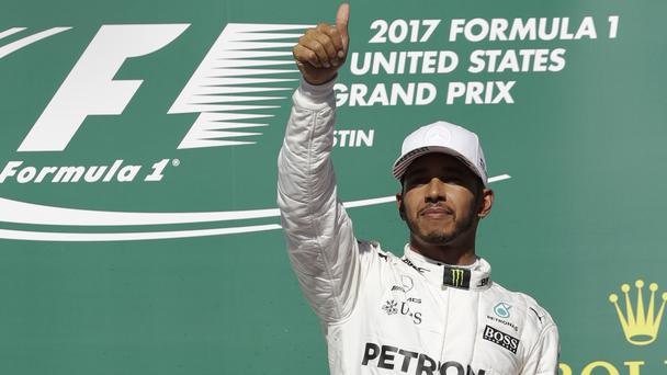 Lewis Hamilton celebrates winning the 2017 US Grand Prix