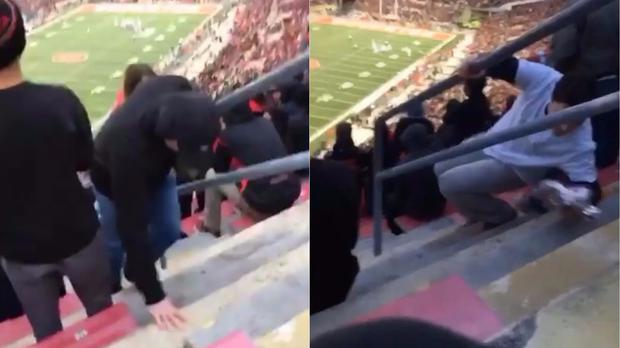 People tripping over the step at Ohio Stadium