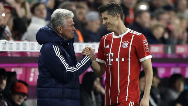 Bayern Munich manager Jupp Heynkes and Robert Lewandowski