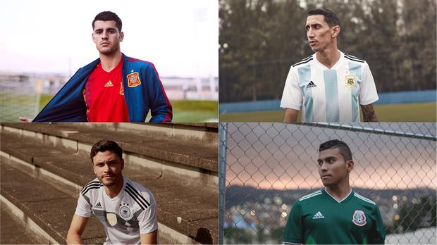 Some of Adidas's new football kits