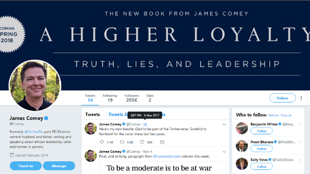 Screenshot of James Comey's Twitter