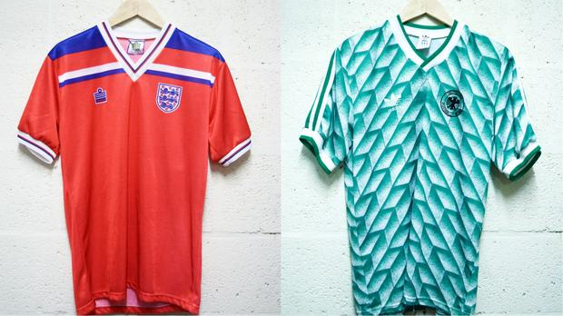An England kit and a Germany kit, both from the 1980s