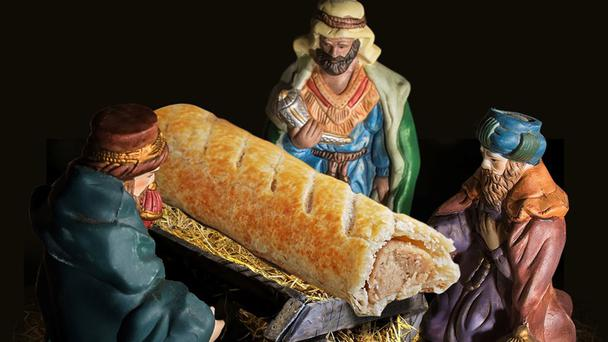 The controversial Nativity scene where Jesus is replaced by a sausage roll