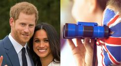 Prince Harry and Meghan Markle and a girl with Union Jack facepaint