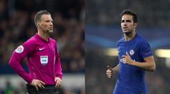 Referee Mark Clattenburg and Chelsea midfielder Cesc Fabregas