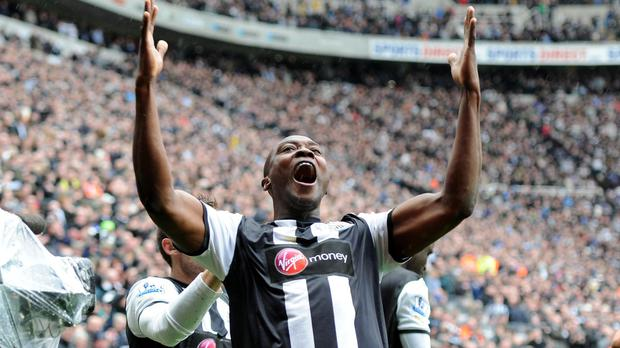 Newcastle's Shola Ameobi celebrates scoring the equaliser during the Barclays Premier League match at the Sports Direct Arena