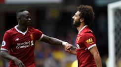 Mohamed Salah and Sadio Mane celebrate for Liverpool