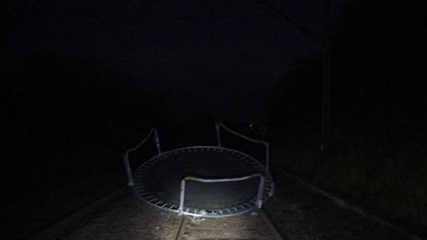 A trampoline on the track near Patterton, which caused disruption to rail services (ScotRail/PA)