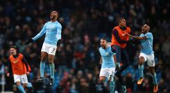 Manchester City's Raheem Sterling celebrates scoring