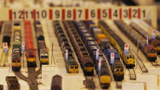 Model trains at Model Rail Scotland, the biggest model railway show held in Scotland, at the Scottish Exhibition and Conference Centre in Glasgow