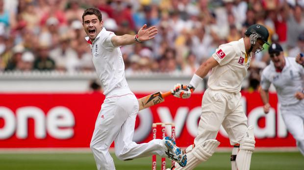 England's James Anderson celebrates taking a wicket during the 2010 Ashes series in Australia