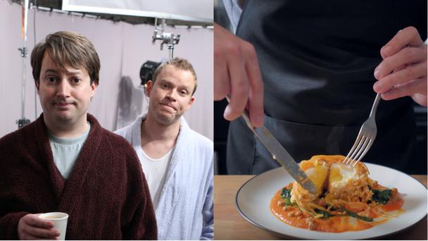 A stock image from Peep Show and the dish from Binging with Babish