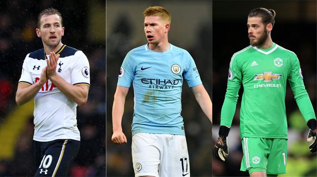 Harry Kane, Kevin De Bruyne and David de Gea