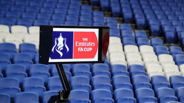 A view of the Video Assistant Referee (VAR) system, which was used in the FA Cup, Third Round match at the AMEX Stadium between Brighton and Hove Albion and Crystal Palace