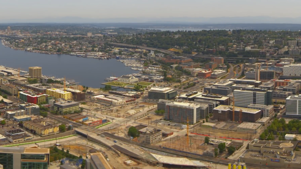 The video shows new builds popping up all over the city (Space Needle/Ricardo Martin Brualla)