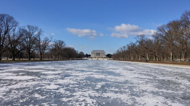 The frozen Lincoln Memorial Reflecting Pool