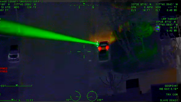 The laser being pointed into the sky (Orange County Sheriff's Department)