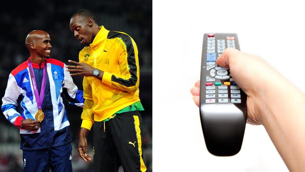 Mo Farah and Usain Bolt, and a hand holding a television remote
