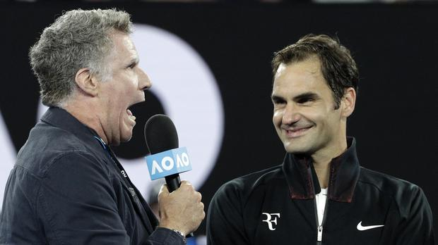 Will Ferrell speaking to Roger Federer in Melbourne