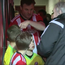 Soon-to-be-wed Nick Goff, 38, joined a group of children in leading out Brentford on Saturday.