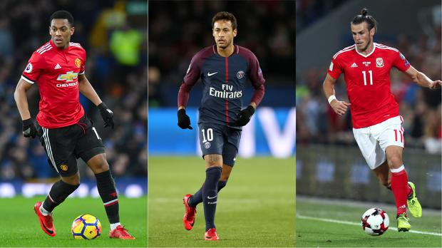 Anthony Martial, Neymar and Gareth Bale