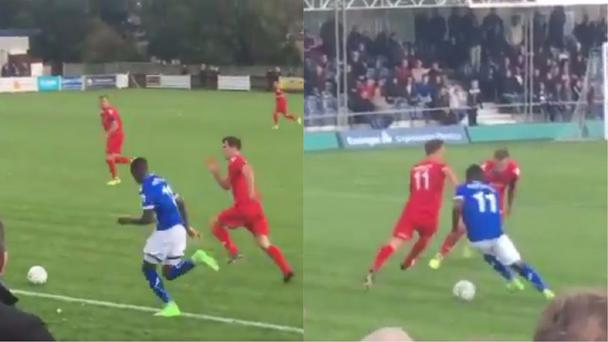Former Wealdstone winger Abo Eisa takes on two defenders - (Twitter/@StonesGoals)