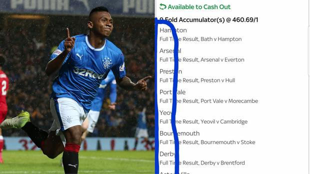 Billy spelt out 'Happy Bday' using the teams on his betting slip (Andrew Milligan/PA and @MathesonBilly/Twitter)