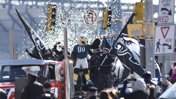 The Philadelphia Eagles mascot during the Super Bowl LII victory parade