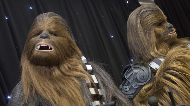 People in Chewbacca costumes