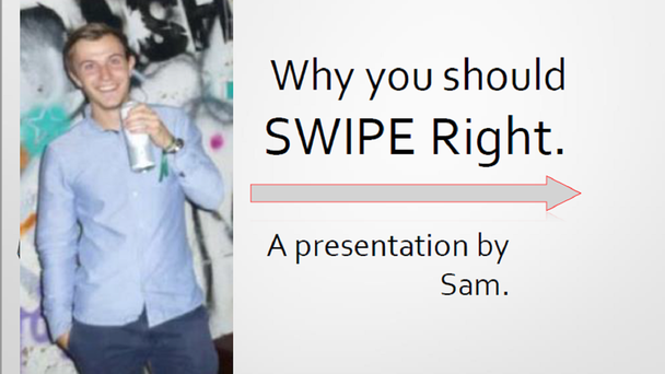 The first slide of Sam's presentation