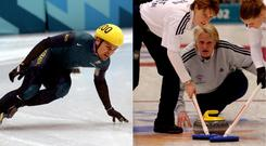 Australian former speed skater Steven Bradbury and the Great Britain ladies curling team at the 2002 Winter Olympics