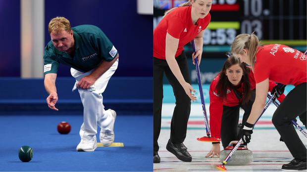 Bowls players and curling competitors in action