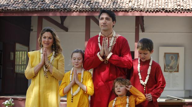 Justin Trudeau, his wife Sophie, and their three children in traditional dress (Ajit Solanki/AP)