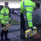 A satirical video shows a man filling potholes with Coco Pops (East Ayrshire Cooncil/Facebook/PA)