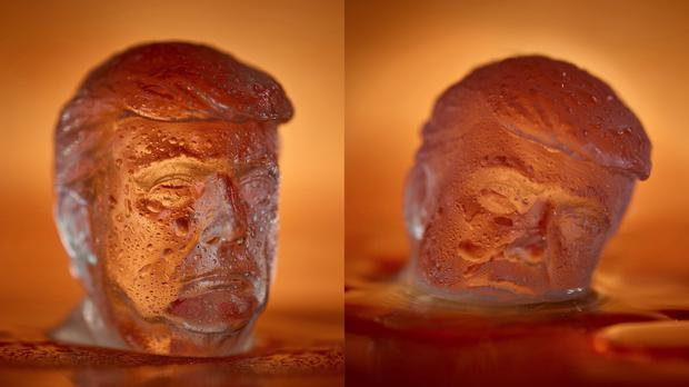 An ice cube in the shape of Donald Trump's head before and after melting - (Myles New/Trump Trays)
