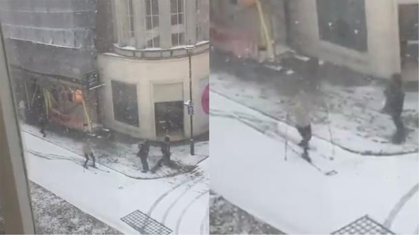 Nicola's video of the skier at Oxford Circus