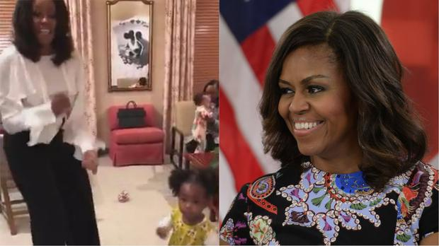 Michelle Obama with toddler Parker Curry (Michelle Obama/Stefan Rousseau/PA)