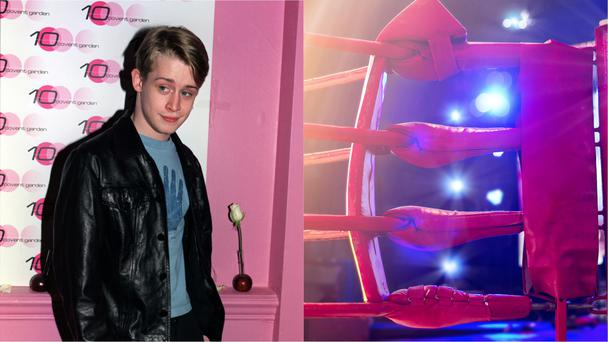 Actor Macaulay Culkin and a boxing ring (Michael Crabtree/PA/ipopba/Getty Images)