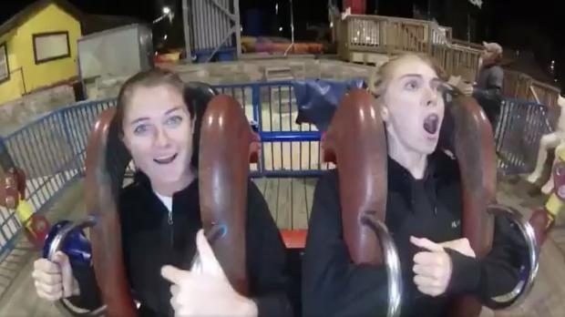 The reaction to the funfair ride