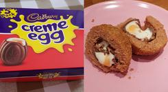 A box of Cadbury Creme Eggs and a Creme Egg scotch egg - (Images courtesy of Philippa Rice)