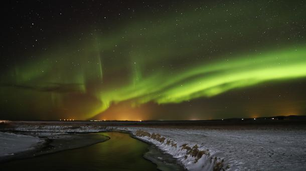 The Northern Lights shine over southern Iceland